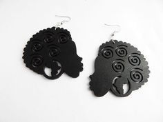 These are wooden curly Afro earrings. These are black and coated for protection. The earrings are approximately inches long and come with back stoppers. African Inspired Clothing, Curly Afro, African Earrings, American Jewelry, Berry, Black, Products, Black People, Bury