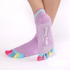 Women Sports Colorful Yoga Socks Hot Fitness And Pilates Cotton Socks Rainbow Workout Anti Slip Toe Socks Breathable Purple Yoga Socks, Yoga Pants, Buy Socks, Women's Socks, Or Mat, Warm Socks, Sport Socks, Cotton Socks, Swagg
