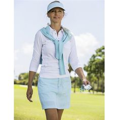 Beautiful ladies golf outfit featuring the Daily Sports Gina 3/4 Sleeve Polo and London Pinstripe Skort in Sea Blue #golf4her