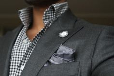 Grey Blazer, black gingham shirt, grey pocket square