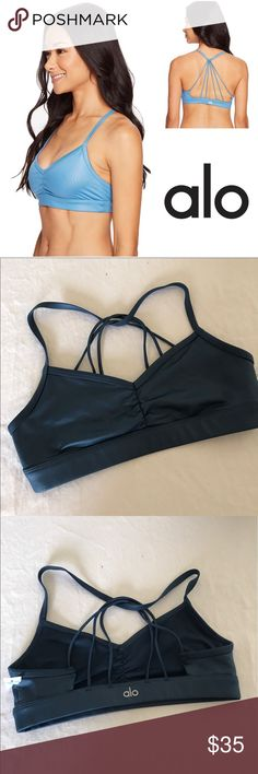 Alo, s, nwot, sunny strappy bra Alos,sunny, strappy sports bra, in blue/grey,nwot, size small. Please note: The color is different then cover photo. The Sunny Strappy Bra can beat the heat of the steamiest yoga class in our dry-wicking fabric with light support. The multitude of straps radiating down the back are sure to shine under drapey layers. ALO Yoga Intimates & Sleepwear Bras