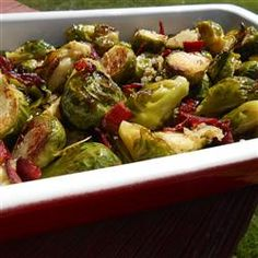 Glazed Brussels Sprouts with #Bison Bacon Recipe from the #BisonCouncil
