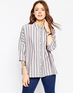 ASOS Casual Oversize Shirt In Stripe