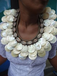 Golden Thin Shell Necklace Women Fashion Papua New Guinea Tribal Home Decor by ubudexotica on Etsy
