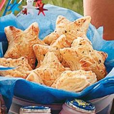 Appetizer: Puff Pastry Stars #tasteofhome #July4th
