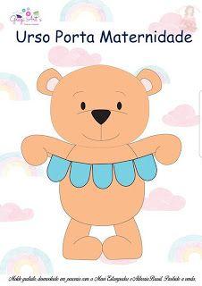 Boas dicas Online: Porta maternidade de ursinho com molde Felt Name Banner, Name Banners, Diy Projects For Kids, Crafts For Kids, Felt Crafts Patterns, Frame Wreath, Busy Book, Felt Ornaments, Baby Decor