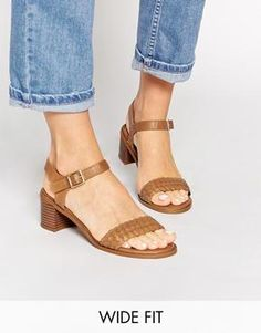 New Look Wide Fit Plaited Heeled Sandals