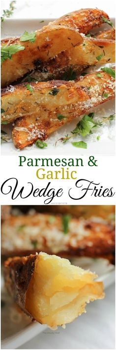 Parmesan and Garlic Wedge Fries - Sometimes you just want a good fry... deliciously crispy on the outside and hot and fluffy on the inside. These wedge fries are seasoned to perfection!