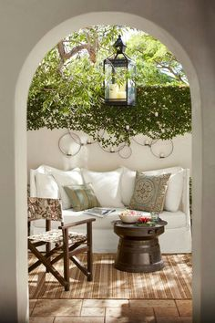 Most designs for projects come from a little inspiration, like from beautiful patios. They can really help you start thinking about what your patio could look like. Outdoor Rooms, Outdoor Gardens, Outdoor Living, Outdoor Furniture Sets, Outdoor Seating, Outdoor Kitchens, Rustic Furniture, Outdoor Sofa, Antique Furniture