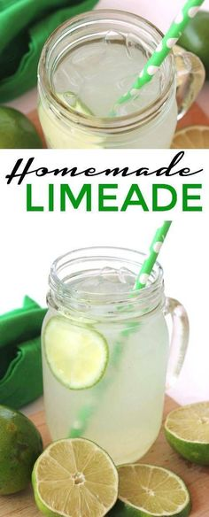Check out this Homemade Limeade Recipe for an easy summertime drink recipe or party drink recipe for wedding showers, baby showers, birthday or pool parties Party Food And Drinks, Fruit Drinks, Non Alcoholic Drinks, Beverages, Cold Drinks, Healthy Drinks, Easy Drink Recipes, Smoothie Recipes, Smoothies