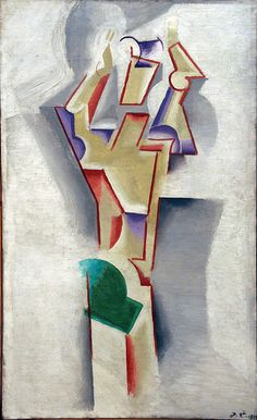 Josef Čapek (Czech 1887–1945) [Cubism] Man with raised arms, 1913. Josef Čapek was a Czech artist who was best known as a painter, but who was also noted as a writer and a poet. He invented the word robot which was introduced into literature by his brother, Karel Čapek. He wrote Poems from a Concentration Camp in the Bergen-Belsen concentration camp, where he died in 1945.