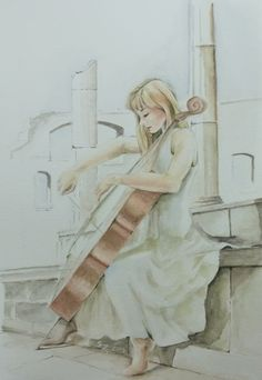 """""""Cello in white"""" Watercolour Painting by me"""