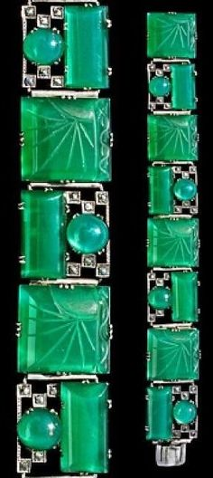 Rare Art Deco bracelet, by Theodor Fahrner (Co.), ca.1920. Silver, chalcedony and marcasite                                                                                                                                                      More