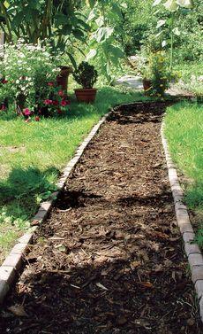 #gartenweg #rindenmulch (garden path diy)