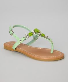 Take a look at the Lucky Top Green Flower Sandal on #zulily today!
