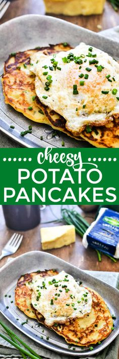 Potato Pancakes - Cheesy Irish Potato Pancakes – If you're looking for a delicious way to celebrate St. Patrick's Day, you're going to LOVE these Potato Pancakes! Kfc Chicken Recipe, Baked Chicken Recipes, Beef Recipes, Salad Recipes, Cooking Recipes, Irish Recipes, Brunch Recipes, Easy Dinner Recipes, Breakfast Recipes