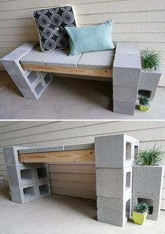 Furniture This DIY cinder block bench was created by 'Decoist' during their front porch makeover, and has a complete tutorial. They also show several different variations of adding the planter sections