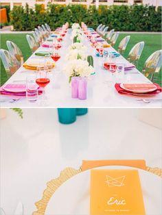 rainbow wedding reception table ideas #weddingdinner #colorfulwedding #weddingchicks http://www.weddingchicks.com/2014/02/05/the-saguaro/