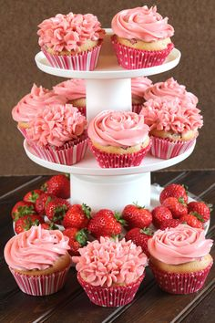 Strawberry Cupcakes With ButterCream Frosting | These sound delicious and they would be great for a party!
