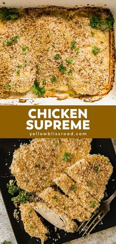 Chicken Supreme is a delicious family friendly dinner. With a flavorful yogurt topping and crunchy  breadcrumbs, this baked chicken is total comfort food.