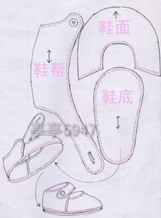 Little shoe pattern - image only. Use photocopier to resize to the size sole you need.