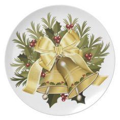 Deep Cream Christmas Bells Holiday Dinner Plate