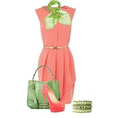 Image result for coral dress with yellow handbag