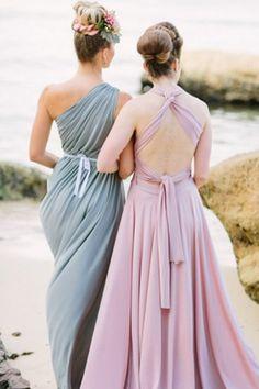Pastel bridesmaid dresses | Origami Creatives | see more on: http://burnettsboards.com/2014/04/beach-goddesses/ #bridesmaids