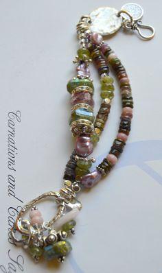 bracelet, silver disc bracelet, green garnet bracelet, pink tourmaline bracelet, multi strand bracelet, christmas for her, artisan