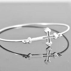 Cross Bangle Sterling Silver Bangle Cross Jewelry by JubileJewel