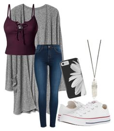 """causal"" by flamingrose12333 on Polyvore featuring LE3NO, Pieces and Converse"