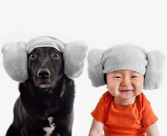 Adorable Matching Portraits of a Baby and Their Dog
