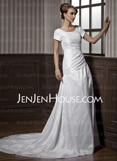 Wedding Dresses - $195.09 - A-Line/Princess Scoop Neck Court Train Taffeta Wedding Dresses With Ruffle Lace Beadwork (002012077) http://jenjenhouse.com/A-line-Princess-Scoop-Neck-Court-Train-Taffeta-Wedding-Dresses-With-Ruffle-Lace-Beadwork-002012077-g12077