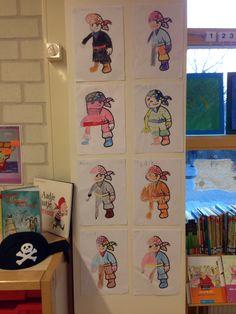 Piraat (vll kern 7) kinderen krijgen een halve kleurplaat. Ze moeten deze volledig maken en inkleuren