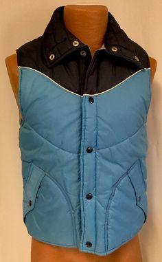 Vintage Alto Puffer Vest S Men's Blue Front Snap Pockets Nylon Jacket Retro #Alto