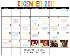 Elf on the Shelf Planning Calendar from One Happy Mama