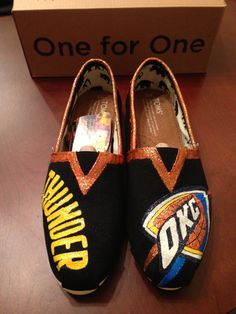 Custom Painted OKC Thunder Toms Grey by BelsieDesigns on Etsy