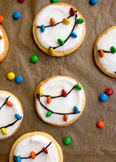Easy Decorated Christmas Cookies - 10 Best Cookie Recipes , Christmas Lights Cookies for Santa! A small batch sugar cookie recipe with easy royal icing and M&Ms.