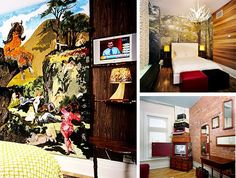 """Like the Kunsthotel, the Gladstone Hotel in Toronto, Canada relies on one artist per room with remarkably varied results. One room (left) purports to simulate a meeting place for a """"lesbian separatists commune,"""" another celebrates Canadian culture and kitsch (upper right) while yet another is simply the artists' meditation on the history of Victorian-era English culture (lower right)."""