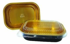Handi-Foil 1 lb. Oblong Black & Gold Aluminum Pan w/Clear Dome Lid - Heavy Duty (pack of 100)
