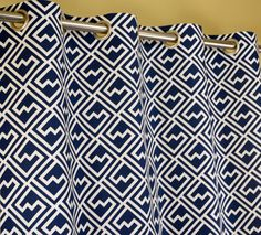 navy blue white modern geometric key shakes curtains grommet 84 96 108 or 120 long by 25 or 50 wide optional blackout or cotton lining