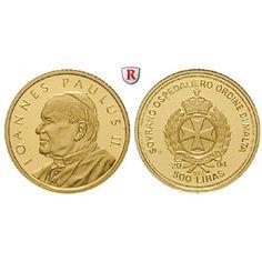 Malta, 500 Liras 2004, 1,24 g fein, PP: 500 Liras 1,24 g fein, 2004. Johannes Paul II. 1/25 Unze. GOLD, Polierte Platte 50,00€ #coins