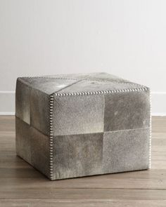 """Jamie Young """"Hobson"""" Hide Ottoman - Horchow"""