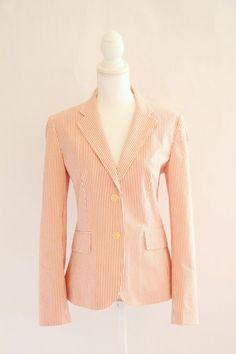 J Crew Women's Blazer Jacket Sz 8 Cotton Seersucker Coral Cream Stripe L/Slv #JCrew #Blazer #Preppy