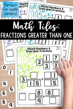 Math Tiles: Mixed Numbers and Improper Fractions Improper Fractions, Teaching Fractions, Teaching Math, Teaching Ideas, Art Lessons Elementary, Elementary Education, Art Education, Teaching Critical Thinking, Math Enrichment