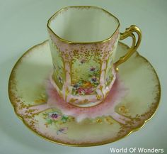 <Antique> Made in France Limoges All hand-painted demitasse cup and saucer and (Pink) - I ~ Rudoobuwanda-Zu