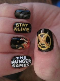 Welcome to YUMMY NAILS nail art images all at your fingertips! Featuring amateur & professional nail art from all over the world Hunger Games Nails, The Hunger Games, Hunger Games Fandom, Hunger Games Catching Fire, Cute Nails, Pretty Nails, Hair And Nails, My Nails, Crazy Nails