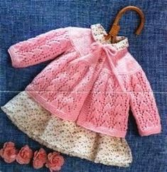 Free Knit Pattern: Angel Cardigan Free Knit Pattern: Poncho, Hat and Socks Free Knit Pattern: Jacket with Roses ... Free Baby Patterns, Baby Knitting Patterns, Free Pattern, Free Knitting, Knitting For Kids, Knit Baby Sweaters, Knitted Baby Cardigan, Cardigan Bebe, Knitted Baby Clothes