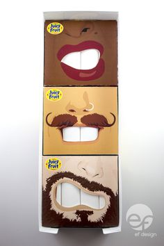 Student: Juicy Fruit Packaging: using die cuts, embossing and spot varnishing. People show their personality through their mouths and their facial expressions; this gum will help you show yours. | Designer & Illustrator: Ellen Foster, Kingston, Ontario, Canada | http://be.net/ellenfoster