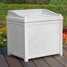 Deck Boxes - Suncast SSW1200W White Wicker 22Gallon Storage Seat * Details can be found by clicking on the image. (This is an Amazon affiliate link)
